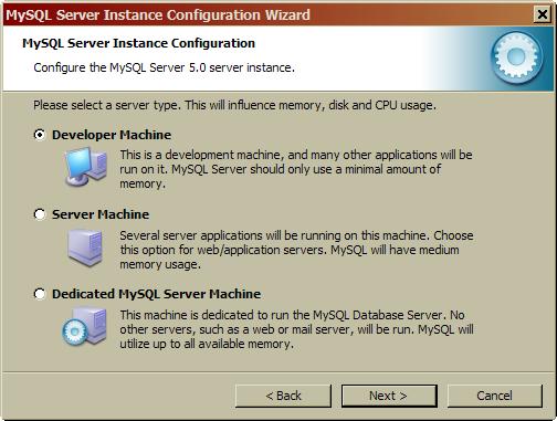 mysql5 configure the mysql server 5.0 server instance