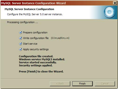 mysql5 configure the mysql server 5.0 server