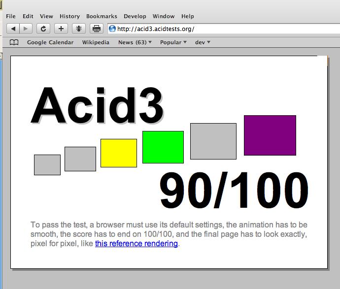 Safari/Webkit Acid3 test