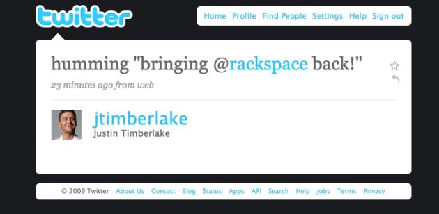 Timberlake clowning Rackspace